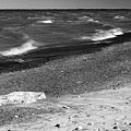Lake Huron Windy Day 2 Bw by Mary Bedy