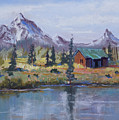 Lake Jenny Cabin Grand Tetons by Heather Coen