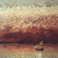 Lake Leman With Setting Sun by Gustave Courbet
