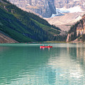 Lake Louise With Canoes by Carol Groenen