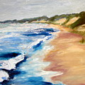 Lake Michigan Beach With Whitecaps Detail by Michelle Calkins