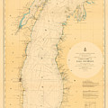 Lake Michigan Nautical Map by Fran Riley