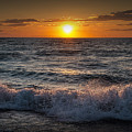 Lake Michigan Sunset With Crashing Shore Waves by Randall Nyhof