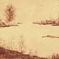 Lake Scene On Parchment by Debra Lynch