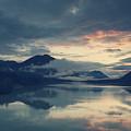 Lake Sylvenstein With Red Sky by Franz Sussbauer
