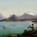 Lake Wakatipu With Mount Earnslaw. Middle Island New Zealand by Eugene von Guerard