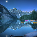 Lake With Moon At Four Am by William Freebilly photography