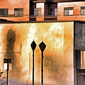 Lamp Post Shadow And Bent Sign by Lynda Lehmann