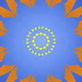 Landscape Abstract Blue, Orange And Yellow Star by Drawspots Illustrations
