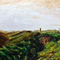 Oil On Canvas Landscape, Plain Of The Roman Countryside, Towards The Tyrrhenian Sea, Mediterranean by Alessandro Nesci