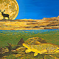Landscape Art Fish Art Brown Trout Timing Bull Elk Full Moon Nature Contemporary Modern Decor by Baslee Troutman