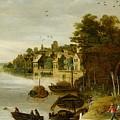Landscape By A Riverside Town by Philippe de Momper