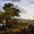 Landscape With A Hunting Party Nicolaes Claes Pietersz Berchem by Eloisa Mannion