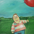 Landscape With Boy And Red Balloon by Tim Nyberg