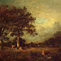 Landscape With Cows 1870 by Dupre Jules
