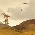 Landscape With Crows  by Carl Friedrich Lessing