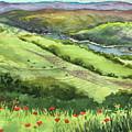 Landscape With Hills Creek And Flowers Watercolor by Irina Sztukowski