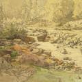 Landscape With Rocks In A River by Eduard von Lichtenfels