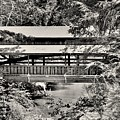 Lanterman's Mill Covered Bridge Black And White by Lisa Wooten