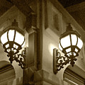 Lanterns - Night In The City - In Sepia by Ben and Raisa Gertsberg