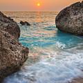Large Rocks And Wave With Sunset On Paradise Island Greece by Sandra Rugina
