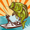 Largemouth Bass Fish And Fly Fisherman by Aloysius Patrimonio