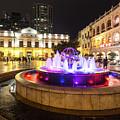 Largo Do Senado In Macau At Night by Didier Marti
