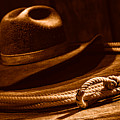 Lariat And Hat - Sepia by Olivier Le Queinec