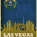 Las Vegas City Skyline State Flag Of Nevada Art Poster Series 018 by Design Turnpike