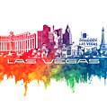 Las Vegas Skyline City Color by Justyna JBJart