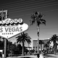 Las Vegas Welcome B/w by Paulette B Wright