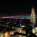 Laser Beams On The Dom Tower In Utrecht 23 by Merijn Van der Vliet