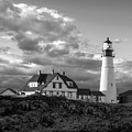 Late Afternoon Clouds, Portland Head Light, Maine #98461-bw by John Bald