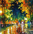 Late Night - Palette Knife Oil Painting On Canvas By Leonid Afremov by Leonid Afremov
