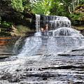 Laughing Whitefish Waterfall In Michigan by Terri Gostola