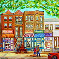 Laurier Street Circa 1960 Montreal Memories Vintage Store Fronts Apartments Family Life Canadian Art by Carole Spandau