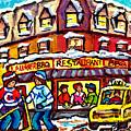 Laurier Bar B Q Restaurant Paintings  Montreal Winter Street Scenes Hockey Art Canadian Artist  by Carole Spandau