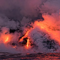 Lava Flowing Into The Ocean 16 by Jim Thompson