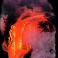 Lava Flowing Into The Ocean 17a by Jim Thompson