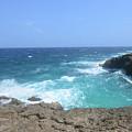 Lava Rock Cliffs And Crashing Ocean Waves In Aruba by DejaVu Designs