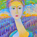 Lavender Lady Art Deco, Decorative Woman Painting, Woman Figure Print For Sale. Pretty Girl Canvas  by Magdalena Walulik