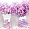 Lavender Peonies White Mason Jars - Romantic Shabby Chic Lavender Purple Peonies Mason Jars by Kathy Fornal