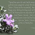 Lavender Sage Blossom I Cor. 1 V 7-9 by Linda Phelps