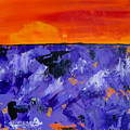 Lavender Sunset Abstract Landscape by Eliza Donovan