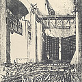 Laying The Floor Of Pedro Muguel Lock by Joseph Pennell