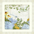 Le Petit Jardin 2 - Garden Floral W Dragonfly, Butterfly, Daisies And Blue Hydrangeas W Border by Audrey Jeanne Roberts