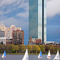 Lean Into It- Sailboats By The Hancock On The Charles River Boston Ma by Toby McGuire