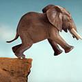 Leap Of Faith Concept Elephant Jumping Into A Void by Lee Avison