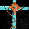 Leather And Stone Cross by M Diane Bonaparte