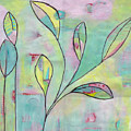Leaves On Abstract Background by Patricia Cleasby